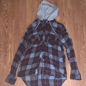 Flannel with grey hoodie